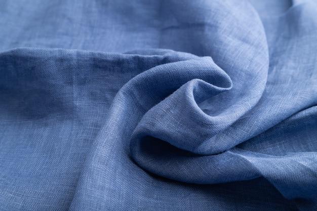青いリネン組織の断片