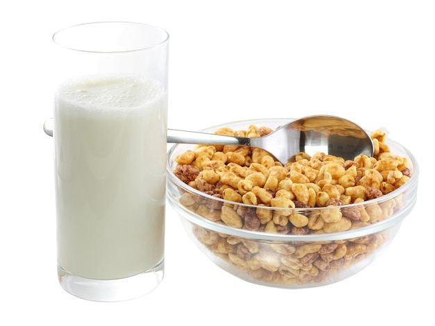 그릇 차가운 시리얼 플레이크와 우유의 안경의 조각. 외딴