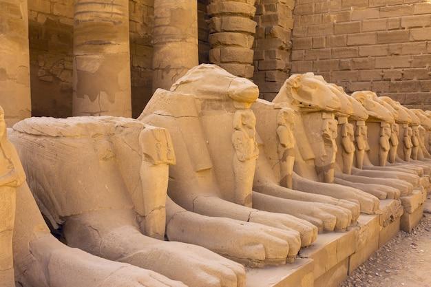 이집트 룩소르의 카르낙 신전에 있는 스핑크스의 골목 조각.