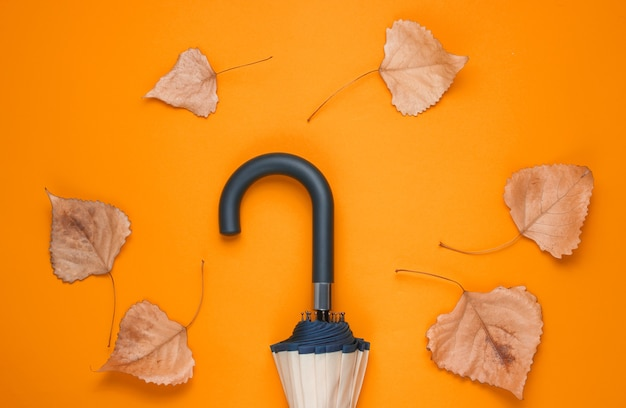Фрагмент крючка зонтика и опавшие листья на оранжевом фоне. вид сверху. осенние аксессуары