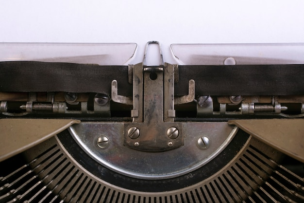 Fragment of an old typewriter close-up.