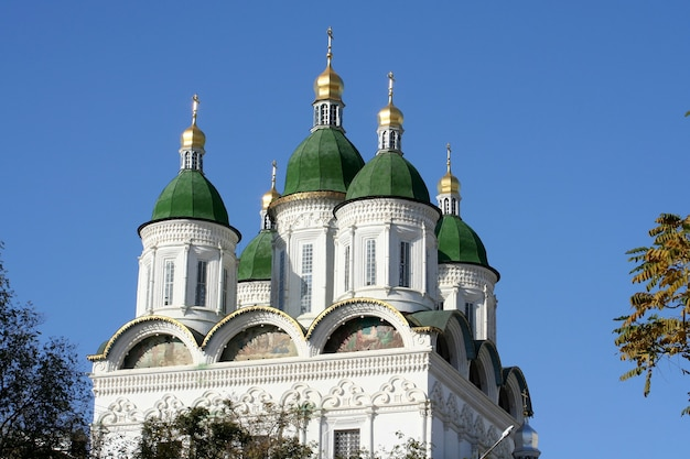 Fragment of an orthodox cathedral in the kremlin in the city of astrakhan