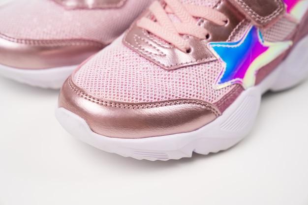조각 핑크 반짝이 운동화 소녀를위한 세련된 세련된 밝은 신발