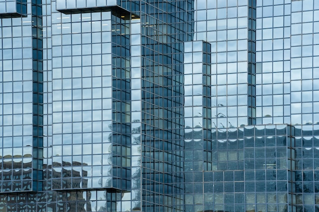 A fragment of the steel and glass modern building structure
