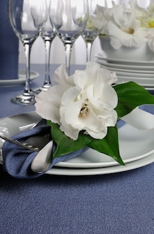 Fragment table setting decorated with flower napkin