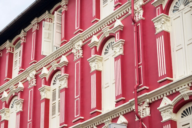 Fragment of traditional building faã§ade in chinatown of singapore