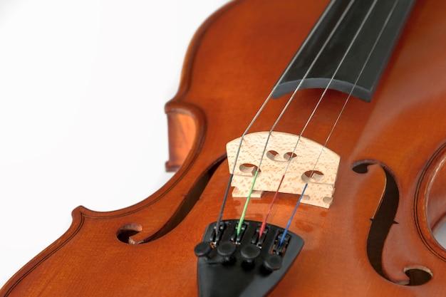 Fragment of violin on white