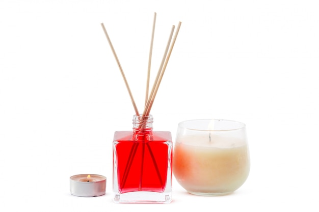 Fragrance diffuser set of bottle with aroma sticks (reed diffusers)