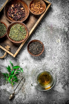 Fragrant chinese tea on a rustic background
