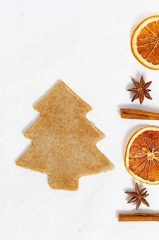 Fragrant christmas cookies with cinnamon, anise, dried oranges on paper.