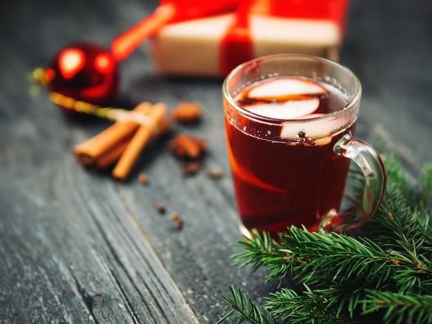 Fragrant christmas mulled wine and gift