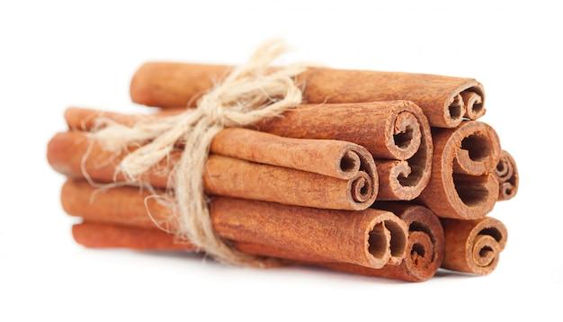 Fragrant dry cinnamon sticks isolated on white space. cinnamon stick spice isolated on white space. closeup