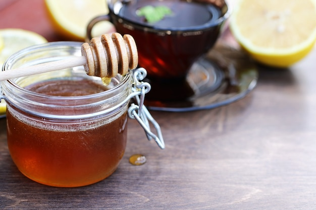 A fragrant fresh honey with a cup of black tea