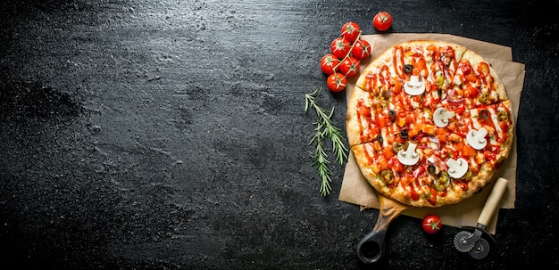 Fragrant pizza with tomatoes and rosemary