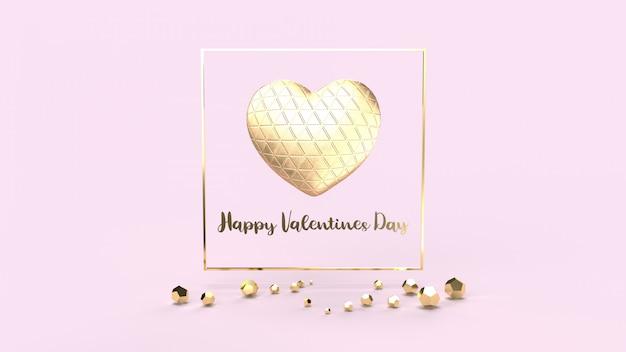 Золотое сердце и золото fram 3d-рендеринг для дня святого валентина.