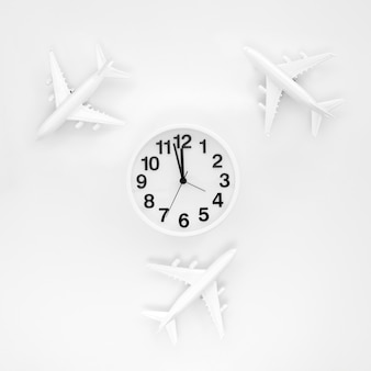 Frame of airplanes and clock