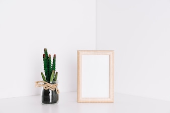 Frame and cactus in corner of room