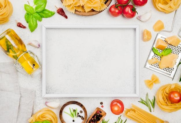 フレームとイタリア料理の食材