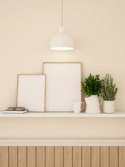 Декорирование рамы и стен для художественного произведения или галереи - 3d-рендеринг