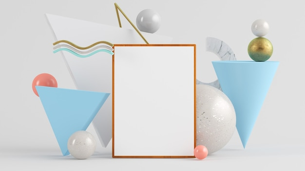 Frame artwork mockup on abstrac background with geometric shapes background