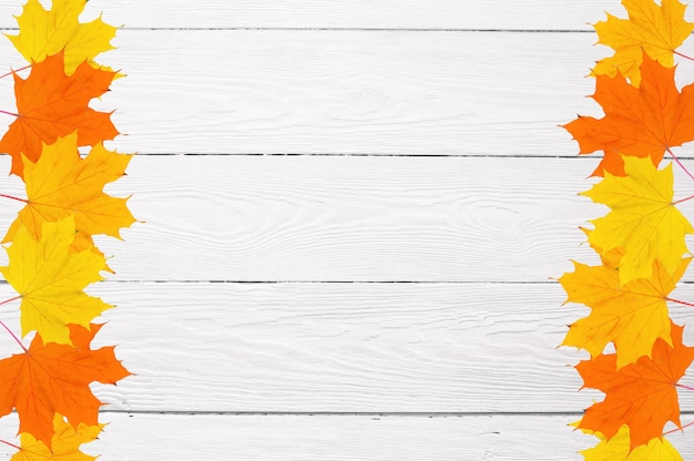 Frame of autumn maple leaves on a white wooden background and copy space