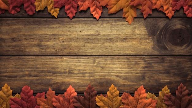 Frame of autumn maple leaves