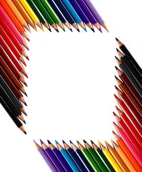 크레용 색연필으로 만든 프레임 배경