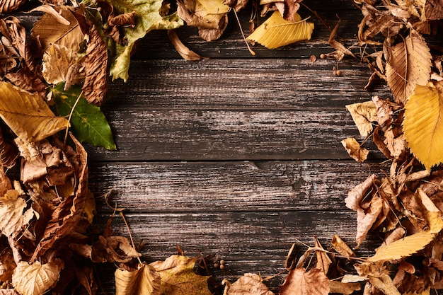 Frame background with autumn fall leaves on a dark wooden table