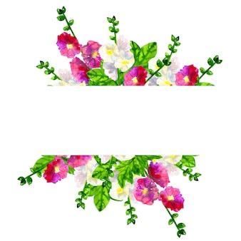 葉とピンク紫ゼニアオイとフレームの背景。白アオイ科の植物。手描きの水彩イラスト。孤立。