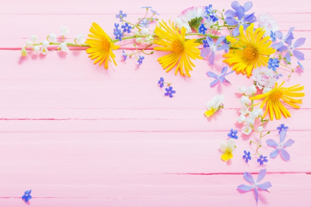 Frame of beautiful flowers on pink wood