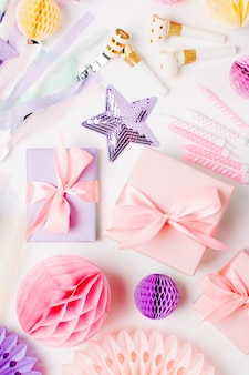 Frame of beauty accessory and makeup cosmetic products with decorations