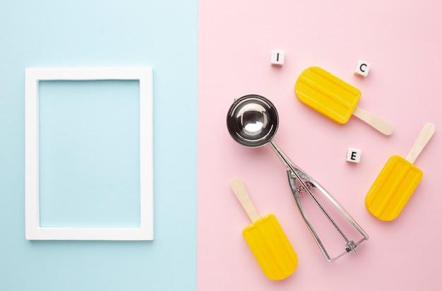 Frame beside ice cream on stick