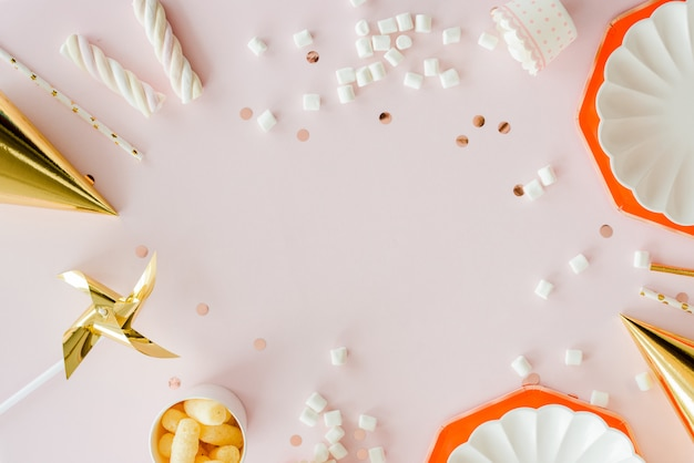 Frame of birthday party supplies