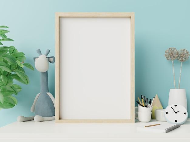 프레임 blankin 자식 방 인테리어와 파란색 벽입니다.