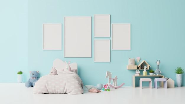 Frame blankin child room interior on blue .