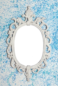 Frame on blue wall