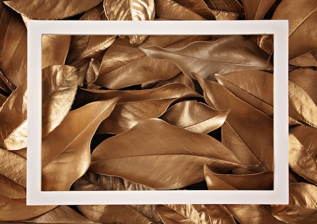 Frame border over the golden leaves background