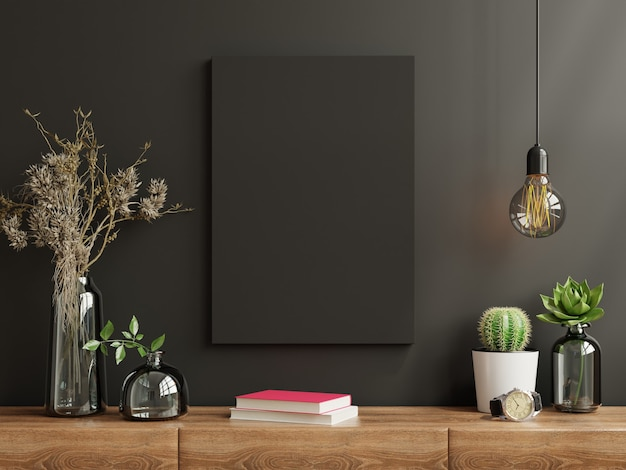Frame on cabinet in living room interior on empty dark wall, 3d rendering
