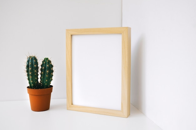 Frame and cactus in corner