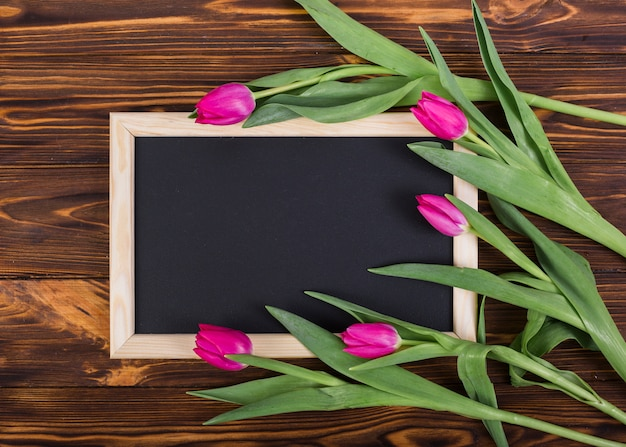 Frame chalkboard and tulips