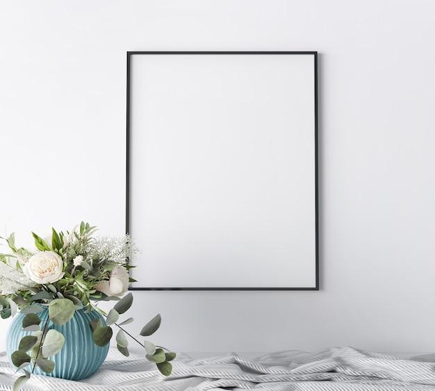 Рамка крупным планом на белом фоне домашнего интерьера, роскошный современный стиль