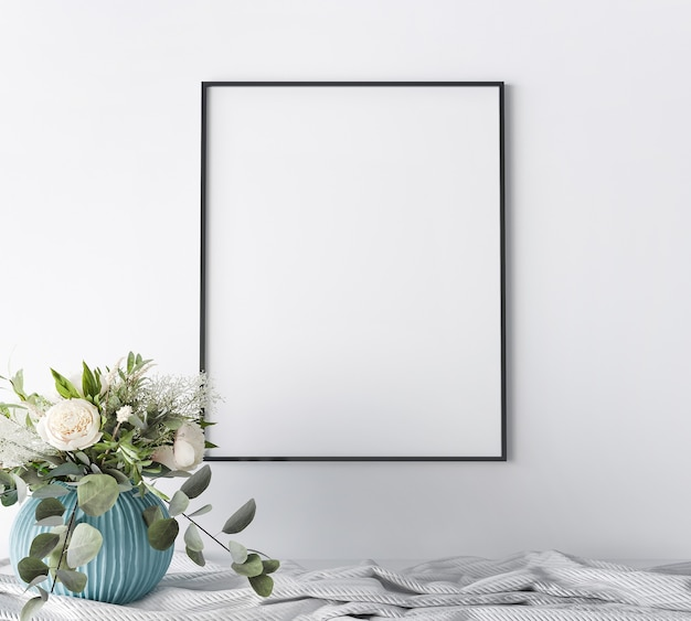 Frame close up in white home interior background, luxury modern style