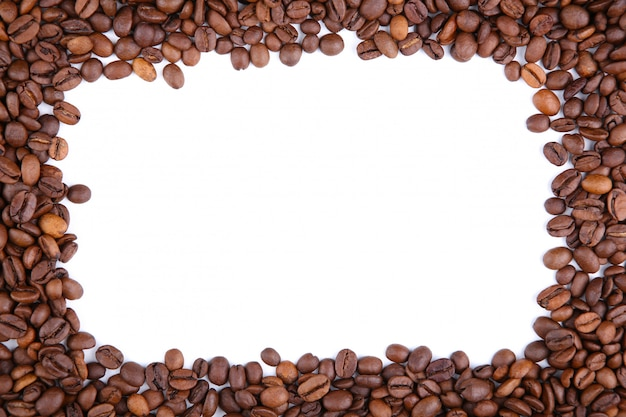 Frame of coffee beans isolated on a white