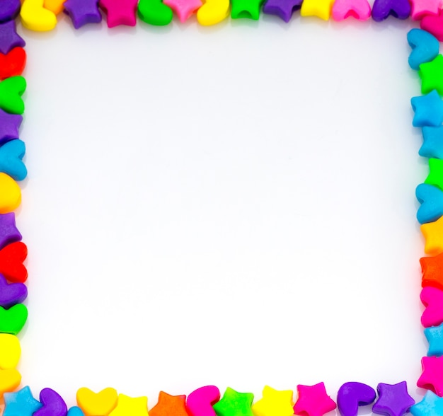 Frame of colorful beads isolated