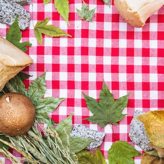 Frame composition with mushrooms and leaves on tablecloth