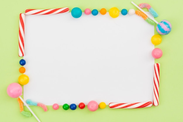 Frame created out of sweet candies