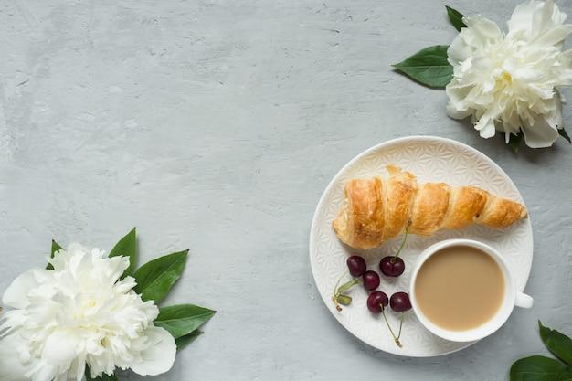 Frame custard cakes cherry flowers peony notepad tea cup.