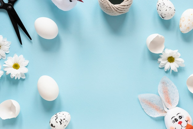 Frame of decorations and eggs for easter
