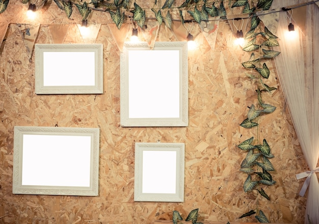 Frame decorative on wooden background