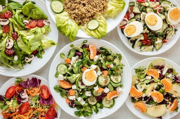 Frame of delicious salads